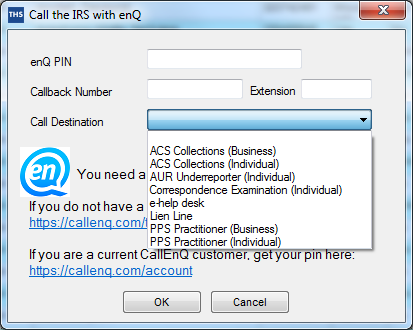 Call IRS example screenshot